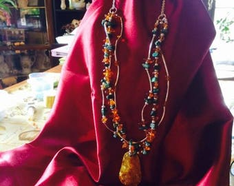amber and turquoise authentic stones jewelry set