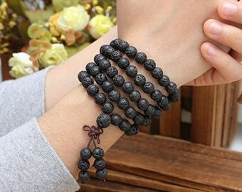 Black Volcanic 108 pcs 8 mm Beaded bracelet For Men Fashion personality wrist mala meditation yoga jewelry