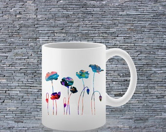 Flowers Mug- Printed Mug - Ceramic Mug - Art Mug - Tea Mug