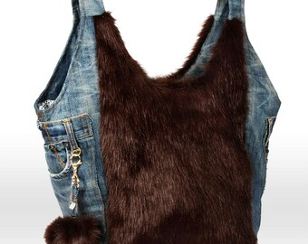 Recycle Jeans Shoulder Bag of Blue Jeans and Faux Fur