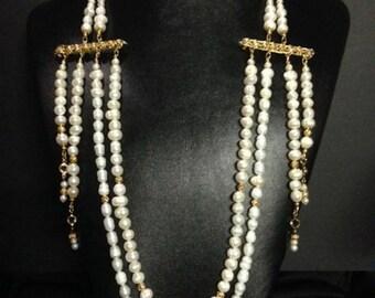 Fresh Water Snake Weave Pearl Necklace w Earrings
