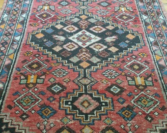 Old hand knotted Malayer Kurde persian rug