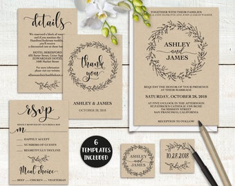 Rustic Wedding Invitation Template Printable Set, Wreath Wedding Invitation Suite, DIY Wedding Template Editable, PDF Instant Download LW110