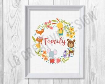Woodland Family Illustration
