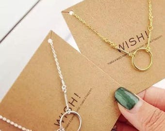 Handmade Silver or 18K Gold Plated Circle Wish Necklace