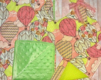 Baby Girl Gift Set/ Minky Baby Blanket/ Burp Cloth/ Baby Bib/ Bib/ Baby Shower Gift Girl/ Baby Gift/ Peach Burp Cloth/ Peach Nursery