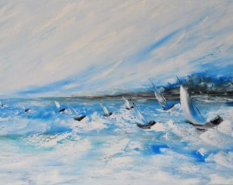 Sailing regatta. Original oil painting on canvas, abstraction, Sea painting, impasto art on canvas by Alekseenko 40x20 inches