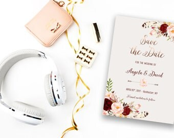Save the Date Printable Floral Digital Wedding Marsala Burgundy Watercolor Rose Gold letters Bohemian Save the Date Invite WS-014