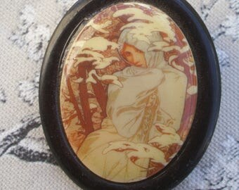 A Large Vintage French Plastic Brooch with the Image of ' Mucha's Lady Winter'/ Alphonse Mucha The Seasons /Art Nouveau Style.