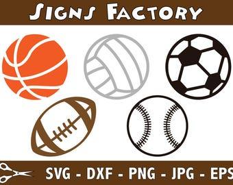 Baseball svg - Football svg - Basketball svg -  Soccer Ball svg - Volleyball svg - dxf - studio cut file