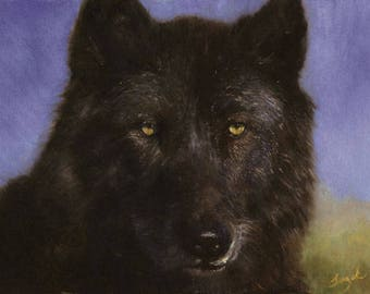 Black Wolf Paintings, Wolf Oil Painting, Painted Wolf, Wildlife Paintings, Oil Paintings for Sale, Original Oil Paintings on Canvas