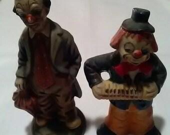 Pair Of Vintage Woolbro Clown Ornaments
