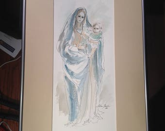 Helene Barber Watercolor Painting of Mary & Jesus