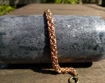 Bronze Byzantine weave chain maille bracelet
