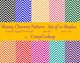 Skinny Chevron Pattern - Set of 10 shades (300 dpi, 12in x 12in) instant digital  download