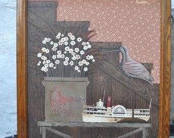 H Huntington signed folk art oil painting