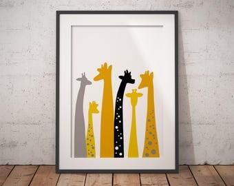 Giraffe nursery, nursery decor, giraffe print, safari nursery, giraffe gift, giraffe decor, trend now, nursery art, most popular, most sold