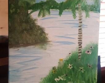 Cartoon lagoon.  Semi abstract original oil painting 8x10