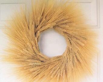 19 Inch Wheat Wreath | Dried Wheat Wreath | Blonde Wheat Wreath