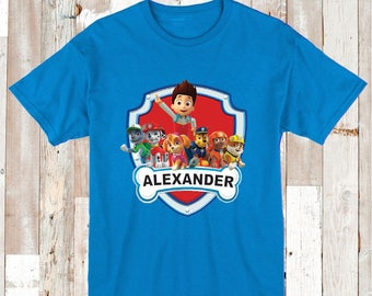 Paw Patrol Custom Tee Tees T-shirt Kids Paw Patrol Birthday t-shirts Boys Custom Paw Patrol Party Tees With Name Paw Patrol Clothes, aa03