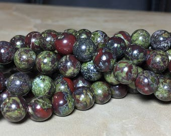 8mm Dragon Blood Jasper Gemstone Round 8mm Loose Beads 15.5 inch Full Strand, Dragon Blood Jasper Beads, Jasper Beads