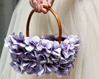 Flower Girl Basket, Wicker with Hydrangea Petals