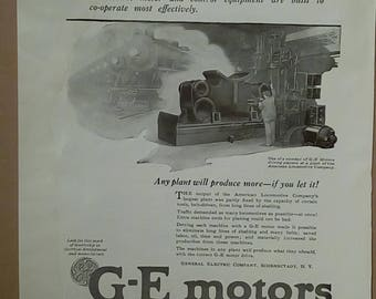 1920 Ad for General Electric's Motors
