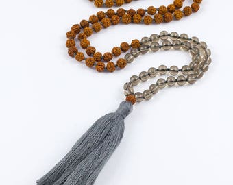 Mala necklace CONFIDENCE smoky quartz with grey tassel - for yoga and meditation