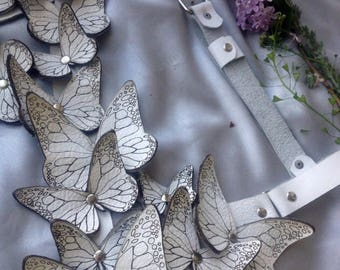 Woman bra harness, leather harness, Leather Butterflies, white Butterfly,  Body Harness, Harness with butterflies, Leather Bra, Lingerie