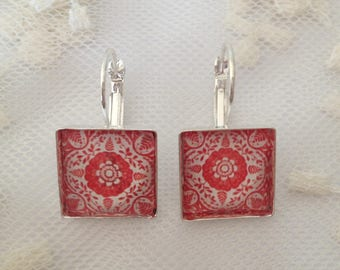 Earrings red tiles plated clips.