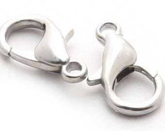 Silver Lobster Clasp Hooks - 10 pieces - 12mm - Jewelry Making