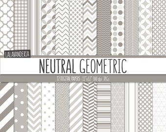 Geometric Digital Paper Package with Neutral Backgrounds. Printable Papers Set with Geometric Patterns. Digital Scrapbook. Instant Download