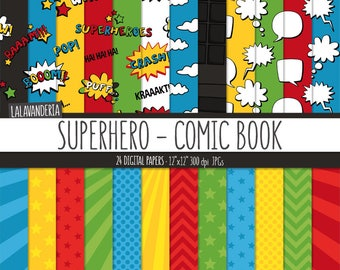 Superhero Digital Paper Pack. Action Words and Comic Sounds Patterns. Comic Book Backgrounds. Speech Bubbles - Super hero Digital Scrapbook