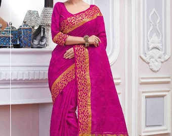 Pink Color Saree with Gold Border