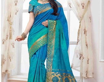 Saree | Sea-Green Colour Saree with Gold Border