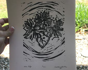 New Life Linoleum Block Print