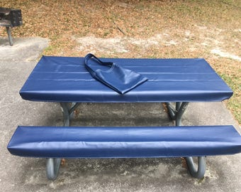 Table Glove Fitted Marine Grade Vinyl Picnic Tablecloth Sets  Picnic Table  Cloth Cover   Navy