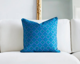Blue and green trellis cushion cover