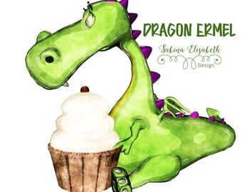 Dragon Ermel 3, bright green, Watercolor Clipart, Baby, Child, Fun, Craft