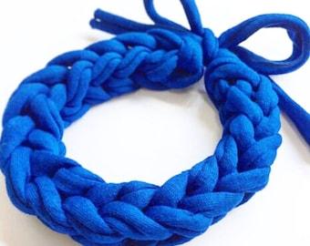 Knitted Bracelet. Knitted Jewellery. Beautiful blue.  Handmade by Knitalicious.uk