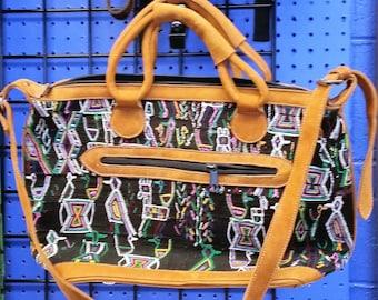 Leather Guatemalan Textile Purses