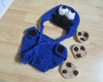 Hand Crochet Baby Crazy Eyed Cookie Monster Photo Prop with Cookies Newborn to 12 Months