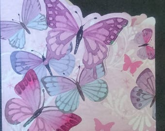 Pink butterflies general greetings card
