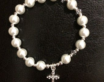 White or Blue Rosary bracelet with Glass Pearl beads, Silver plated crucifix and findings