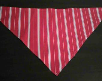 S/XS Red & White Striped Denim Bandana