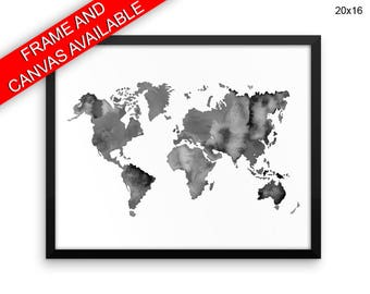 World Map Canvas Art World Map Printed World Map  Framed Art World Map large world map watercolor map black white horizontal poster