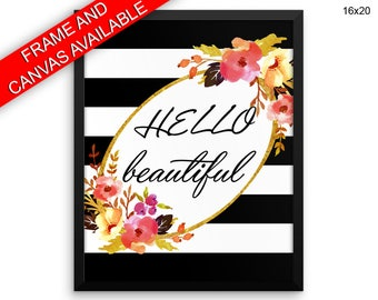 Hello Canvas Art Hello Printed Hello Fashion Art Hello Fashion Print Hello Framed Art Hello black white stripe happy wall decor