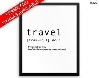 Definition Printed  Poster Travel Framed Definition Dictionary Art Travel Dictionary Print Definition Canvas Travel Travel Definition