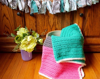 Pretty in Pink and Teal Color Block Blanket