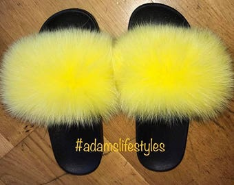 Faux Fox fur slide sliders slippers